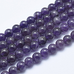 Natural Amethyst Beads Strand, Round, 6~6.5mm, Hole: 1mm; about 65pcs/strand, 15.7inches(40cm)