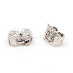 Iron Ear Nuts, Earring Backs, Platinum, 6x4x3mm, Hole: 0.7~1.0mm(X-IFIN-E034Y-N)