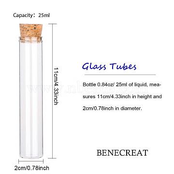 Bouteilles en verre vides, avec couvercle en bois, souhaitant bouteille, clair, 2x10.75 cm, capacité: environ 25 ml, 25 pcs / boîte(AJEW-BC0005-36A)