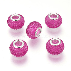 Rhinestone de résine de perles européennes, avec des noyaux en laiton argenté, grandes perles de trou, rondelle, perles baies, fuchsia, 14x10 mm, trou: 5 mm(RPDL-L004-09)