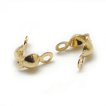 Brass Bead Tips, Calotte Ends, Clamshell Knot Cover, Real 18K Gold Plated, 7x4mm, Hole: 1mm, Inner Diameter: 3mm(X-KK-T032-153G)