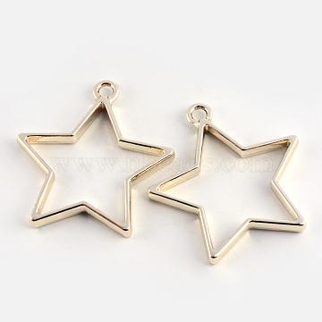 Rack Plating Alloy Star Open Back Bezel Pendants, For DIY UV Resin, Epoxy Resin, Pressed Flower Jewelry, Cadmium Free & Nickel Free & Lead Free, Golden, 35x32.8x3.5mm, Hole: 3mm(X-PALLOY-S047-40D-FF)