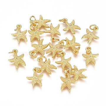 Electroplated Alloy Charms, Long-Lasting Plated, with Brass Jump Ring, Starfish/Sea Stars, Golden, 14.5x11x3mm, Hole: 3.5mm(X-PALLOY-G267-06G)