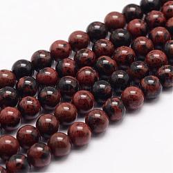 """Acajou naturel chapelets de perles en obsidienne, rond, 8mm, trou: 1mm; environ 48 pcs/chapelet, 15.5""""(G-K153-B17-8mm)"""