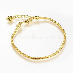 Brass European Style Bracelet Making, Golden, 7-7/8 inches(200mm)x2.5mm(X-MAK-R011-04G)