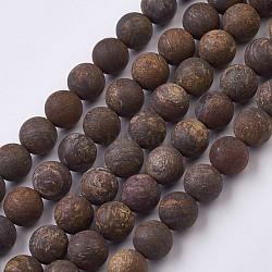 Brins de billes de bronzite naturelles, givré, arrondir, 8.5~9 mm, trou: 1 mm; environ 45 perle / brin, 15.1 (38.5 cm)(G-J376-32-8mm)