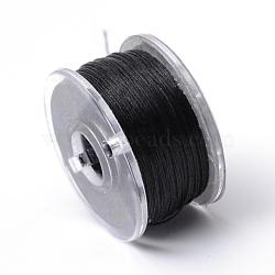 Fils de polyester spécialement revêtus pour les perles de graines, noir, 0.1 mm; environ 50 mètres / rouleau(OCOR-R038-12)