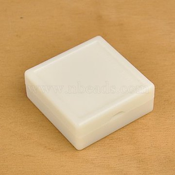 Square Plastic Jewelry Boxes, with Velours inside, White, 50x50x20mm(OBOX-E001-1)