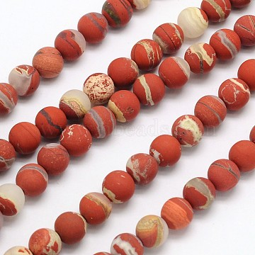 Frosted Round Natural White Lace Red Jasper Beads Strands, 4mm, Hole: 1mm, about 90pcs/strand, 15.3 inches(X-G-N0166-57-4mm)