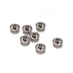 Perles rondes plates en acier inoxydable 304 rondes, couleur inoxydable, 6x3mm, Trou: 1.8mm(X-STAS-I050-05)