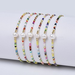bracelets de perles tressées en nylon, avec perles de rocaille et perle japonaises, coloré, 2 / 2-3 4 cm)(X-BJEW-P256-B14)