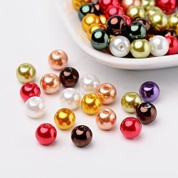 Lustre verre nacrées perles de nacre, couleur mixte, 8mm, trou: 1 mm; environ 100 PCs / sachet (HY-X006-8mm-09)