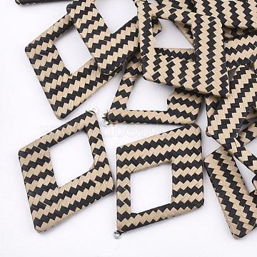Handmade Raffia Woven Big Pendants, with Iron & Aluminum Findings, Rhombus, Platinum, Coffee, 69x48.5x4mm, Hole: 1.8mm(X-WOVE-T005-39D)