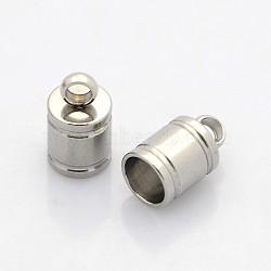 304 extrémités de câble d'acier inoxydable, embouts, couleur inox, 10x6 mm, trou: 2 mm; diamètre intérieur: 5 mm(STAS-N034-05)