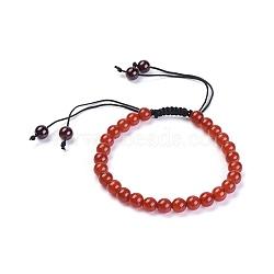 bracelets de perles de grenat / cornaline naturelles, avec cordon de fil de nylon, 2-1 / 8 (5.45 cm)(BJEW-JB04337-02)