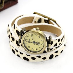 Fashionable Leather Watch Bracelets, with Alloy Watch Components and Alloy Findings, Antique Bronze, White, 600x10mm(WACH-J005-02)