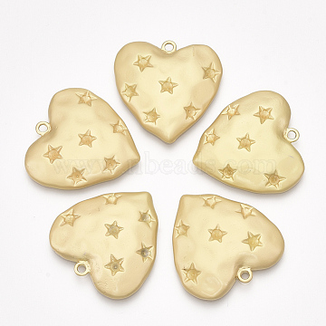 Smooth Surface Alloy Pendant Rhinestone Settings, Heart, Matte Gold Color, Fit for 2.5mm Rhinestone, 30x30x4mm, Hole: 2mm(X-PALLOY-T067-72MG)
