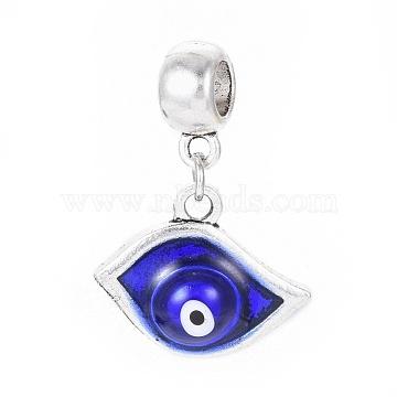 28mm Blue Eye Alloy+Enamel Dangle Beads