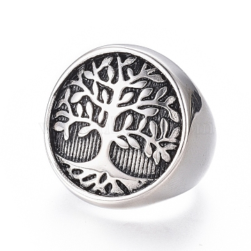 304 Stainless Steel Wide Band Rings, Flat Round with Tree of Life, Antique Silver, Size 7~12, 17~22mm(RJEW-D073-10-AS)