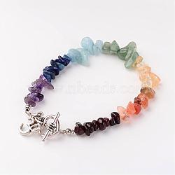 chakra bijoux, bracelets de perles de pierres précieuses mélangées naturelles, avec un alliage de coeur toggel conclusions fermoir et laiton, ohm, 7-5 / 8 (19.5 cm)(BJEW-JB02340-01)