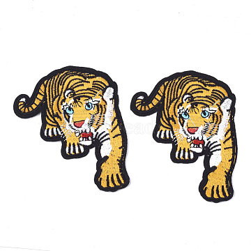 Computerized Embroidery Cloth Iron On Patches, Costume Accessories, Appliques, Tiger, Gold, 102x85x1.5mm(X-FIND-T030-192)