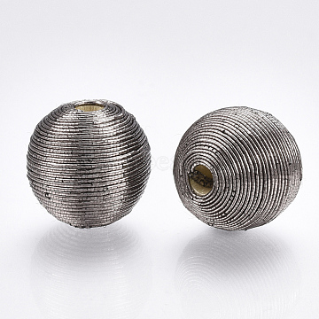 16mm Gray Round Polyester Beads