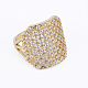 Brass Micro Pave Cubic Zirconia Finger Rings(RJEW-E145-03G)-1
