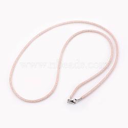 """Colliers à mailles en laiton, avec des perles de verre à l'intérieur, clair, or rose, 25.6~26"""" (65~66 cm)(NJEW-F241-01RG-B)"""