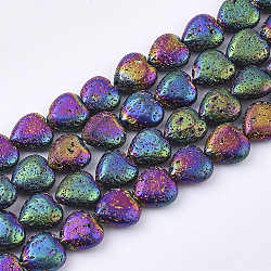 """Chapelets de perles en lave naturelle électrolytique, cahoteuse, cœur, multi-couleur plaquée, 11x10~10.5x4.5~5mm, trou: 1mm; environ 40 pcs/chapelet, 15.7""""(G-T126-10M)"""