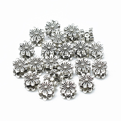 Perles thaïlandaises en argent sterling, fleur, argent antique, 925mm, Trou: 6x5mm(STER-T002-03AS)
