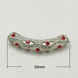 Alloy Rhinestone Tube Beads, Grade A, Platinum Metal Color, Light Siam, 55x10x8mm, Hole: 5mm(X-RB-C1389-3P)