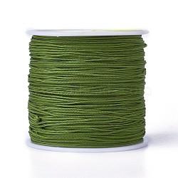 Cordons de fibre de polyester à fil rond, darkolivegreen, 0.7mm, environ 100 m / bibone (OCOR-J003-23)