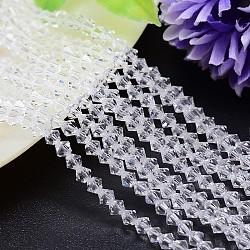 """Chapelets de perles en imitation cristal autrichien facettes, grade AAA, Toupie, clair, 6x6mm, trou: 0.7~0.9mm; environ 68 pcs/chapelet, 15.7""""(G-M180-6mm-01A)"""