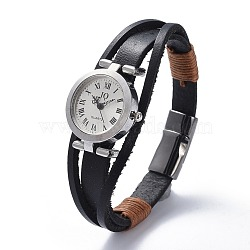Men's Alloy Watch Head Bracelet Watches, with Cowhide Leather Cord and Alloy Magnetic Clasps, Packing Box, Black, 7-3/4 inches(19.6cm); 11.5mm(BJEW-JB04429)