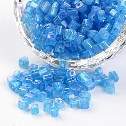 6/0 cube de couleurs transparentes arc-en-trous ronds plaqués perles de rocaille en verre, bleu foncé, 3.5~4x2.5~3mm, trou: 0.5 mm; environ 5500 pcs / 450 g(SEED-I003-F163)