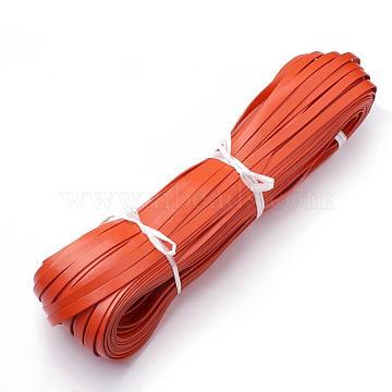 Cowhide Cord, Dark Orange, 3x2mm; about 100yard/bundle(300 feet/bundle)(WL-Q007-3x2-18)