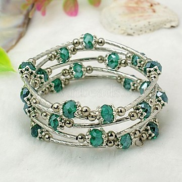 Fashion Wrap Bracelets, with Rondelle Glass Beads, Tibetan Style Bead Caps, Brass Tube Beads and Steel Memory Wire, Teal, Inner Diameter: 55mm(X-BJEW-JB00628-14)