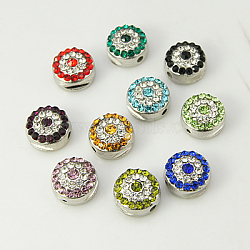 Alloy Rhinestone Beads, Grade A, Platinum Color, Round, Mixed Color, 10x6mm, Hole: 1.5mm(RB-E007-M)