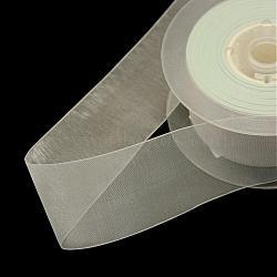 """Ruban d'organza polyester, blanc, 1/4"""" (6 mm); environ 400yards / rouleau (365.76m / rouleau)(ORIB-Q025-6mm-01)"""