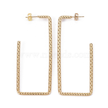 304 Stainless Steel Stud Earrings, Hypoallergenic Earrings, with Ear Nuts, Rectangle, Golden, 75x29x1.7mm, Pin: 0.8mm(X-EJEW-I244-08G)
