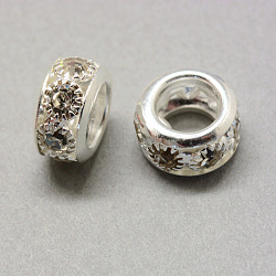 Brass Rhinestone Beads, Large Hole Beads, Rondelle, Silver Color Plated, 10x5mm, Hole: 5.5mm(X-KK-Q401-03S)