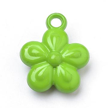 Opaque Acrylic Pendants, Flower, Lime Green, 23x19x8.5mm, Hole: 3mm(X-SACR-Q190-42E)