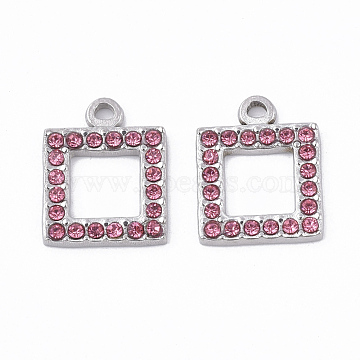 304 Stainless Steel Pendants, with Rhinestone, Square, Rose, 16.5x13x2mm, Hole: 1.6mm(X-STAS-T050-005I)