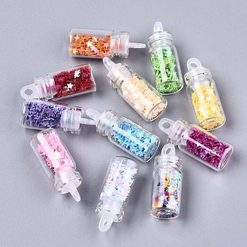 Glass Wishing Bottle Pendant Decorations, with Star Glitter Sequins/Paillette inside, with Plastic Plug, Mixed Color, 27~29x11mm, Hole: 2.5mm(X-GGLA-S036-05)