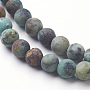 Natural African Turquoise Bead Strands, Frosted, Round, 4mm, Hole: 1mm; about 88pcs/strand, 14.96 inches