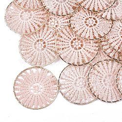 большие подвески из полиэстера, с железом выводы, плоские круглые, светлое золото, mistyrose, 52x1.5 mm(X-FIND-S283-01F)