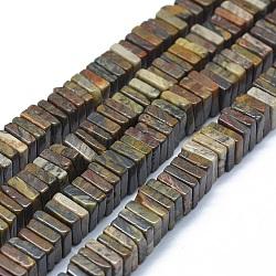 perles de jaspe en peau de léopard naturel, carré, 9~10.5x9~11x2~7 mm, trou: 1.2 mm; environ 114~121 perle / brin, 15.5~15.9 (39.5~40.5 cm)(G-F631-I06)