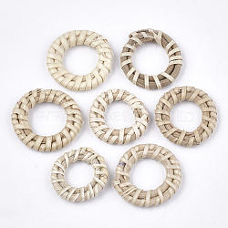 Handmade Reed Cane/Rattan Woven Linking Rings, For Making Straw Earrings and Necklaces, Ring, AntiqueWhite, 20~30x3~5mm, Inner Diameter: 10~15mm(X-WOVE-T006-151A)