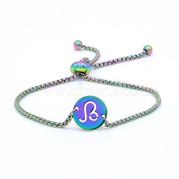 """Bracelets réglables en 201 acier inoxydable, bracelets bolo, avec des chaînes de boîte, plat rond avec constellation / signe du zodiaque, leo, 9-1/2"""" (24 cm)(STAS-S105-JN664-5)"""