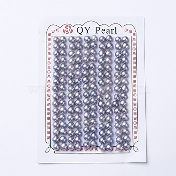 Natural Cultured Freshwater Pearl Beads, Half Drilled, Round, Slate Blue, 5~5.5x4.5mm, Hole: 0.9mm(PEAR-I004G-01)